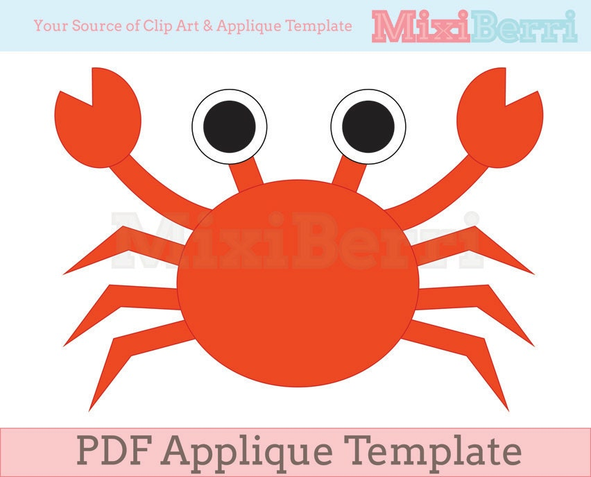 crab applique template pdf instant download quilt applique etsy