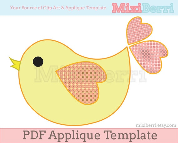 sweet bird applique template pdf instant download etsy