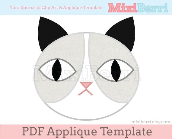 Graue Katze Applique Muster PDF Applique Nähen Vorlage | Etsy
