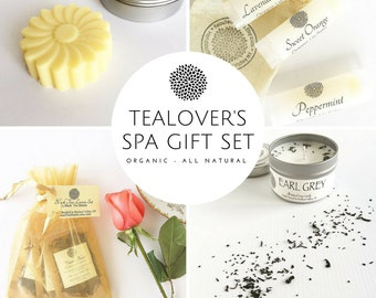 Tealover's Spa Gift Set | Luxury Spa Day | All Natural - Organic | Gifts for Her | Lotion Bar | Lip Balm | Organic Tea | Soy Candle | Bride