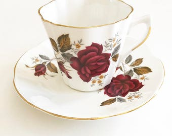 Vintage Tea Cup | Gold Trim Made in England | Cup and Saucer | Red Roses - Floral |  Bridal Tea | Antique Tea cup | Tea lover's Gift