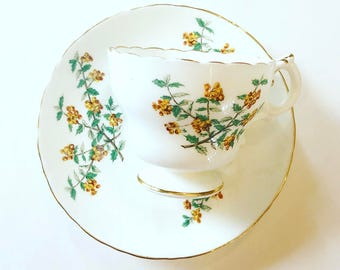 Vintage Tea Cup / Gold Trim ~ Made in England ~ Cup and Saucer /Yellow Floral / Tea Lovers Gift  / Antique Tea cup