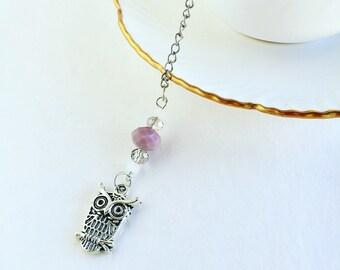 "Tea Infuser Charmed with ""Owl"" and Glass Beads / Tea Lovers Gift / Loose Leaf Tea / Tea Mesh Ball"