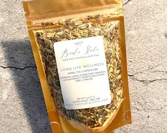 LONG LIFE WELLNESS Tea | Organic Loose Leaf Tea | Peppermint, Licorice, Cinnamon, Chrysanthemum | Caffeine Free - Antioxidant Rich