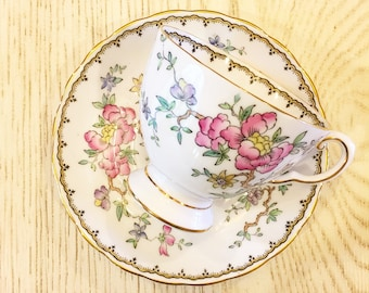 "Vintage Tea Cup /  Floral - Bird - Gold Trim ~ Antique Tea cup / Made in England~ Cup & Saucer -  Bone China /Bridal Tea ""Tuscan"""