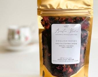 ENGLISH ROSE TEA blend | English Breakfast + Rose Petals | Tealovers | Organic Loose Leaf tea | Organic Black Tea