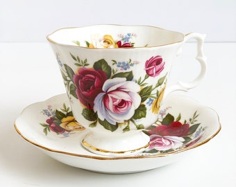 Vintage Tea Cup - Royal Albert | Antique Tea Cup | Floral with Pink, Red, and White Roses | Tea Lover's Gift | Bridal Tea | Cup and Saucer