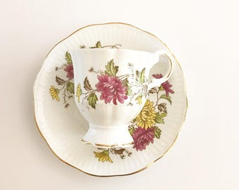 Vintage Tea Cup | Floral with  Gold Trim ~ Antique Tea cup | Made in England | Cup & Saucer - Bone China | Bridal Tea - Royal Dover