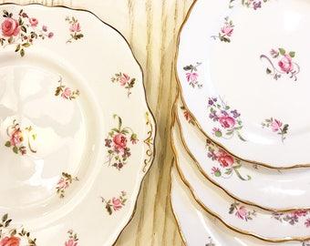 """Melba ~Cake Plate 5 pc  Tea Service Set"""" / Vintage Cake Plate / Dessert Set / Pink Floral Vintage Tea/Bone China/ Made in England"""