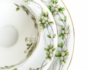 Vintage Botanical Tea Set | Vintage Teacup, Saucer, Plate | Herbal Japanese Tea Cup | Bridal Tea | Mother's Day Gift | Tealover's Gift