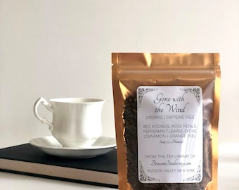 Gone With The Wind inspired Loose Leaf Tea | Literary Tea, Book Theme Tea - Book Lover's Gift - Book Club | Rooibos - Rose Petals | Tea Gift