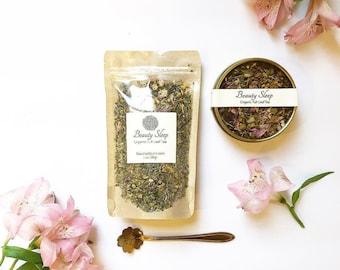 BEAUTY SLEEP Organic Herbal Tea, Relaxing and Wellness Tea Blend, Loose Leaf Tea - Calendula, Rose Petals, Chamomile Tea, Lavender