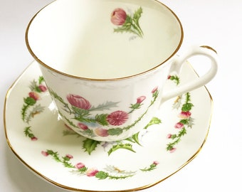 Vintage Tea Cup | Thistle Flower - Floral with Gold Trim ~ Cup and Saucer | Antique | Pink & Magenta Floral | Royal Coach | Staffordshire