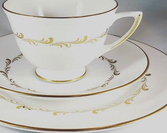 Bridal Vintage Tea cup set | White and Gold | Antique Tea Cup | Dessert Set | Bridal Tea | Dessert Plate | Tea Gift | Tea Lover's Gift