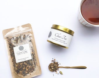 Chai Tea Gift Set | Organic Chai Tea | Hand Poured Soy Candle | Chai Scented | Spice | Tea Lover's Gift