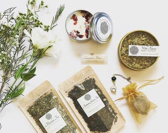 Tea Lovers & Spa Gift Set ~ Organic Tea Gift / Tea Lover's Gift / Spa Gift / Bridesmaid Gift / Scented Soy Candle / Facial Steam /Lip Balm