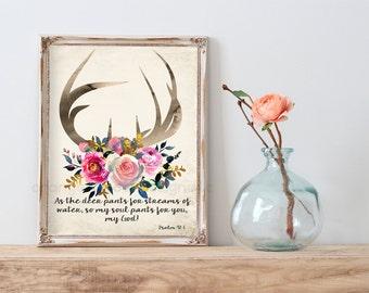 So my soul pants for you, my God Psalm 42 1 Christian Art Print 11x14 (5AOWDe105) Scripture Art Print floral Art Bible Verse Watercolor