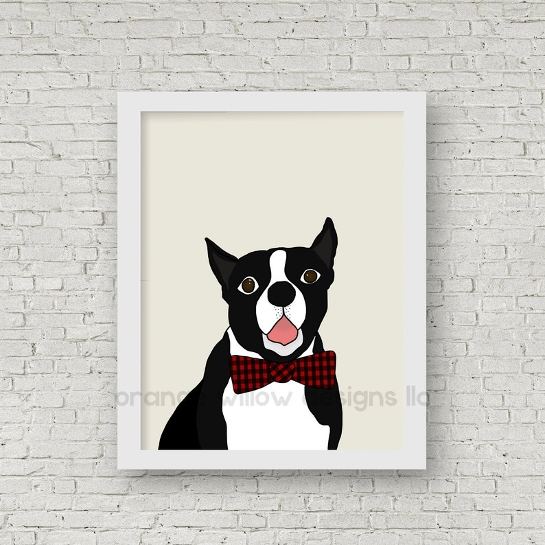 Boston Terrier Red Buffalo Check Bow Tie Art 5AOWDe91b 11x14 image 0