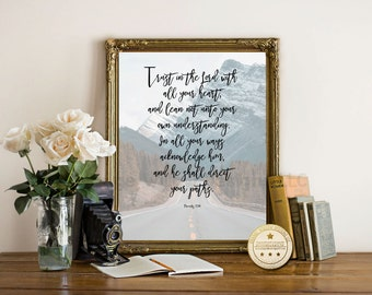 Trust in the Lord, Bible Verse wall art, Inspirational art, Printable art, Christian wall art, Bible Scripture, Proverbs 3:5-6, instant art