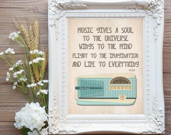 Music gives a soul to the universe wings to the mind Plato, Retro Vintage Radio Music Art Printable 8x10 (24AOWD) instant download