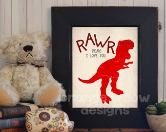 Rawr means I love you (108AOWD) Dinosaur Red Art Printable Love Art Print Dinosaur Art Printable Instant Download 8x10