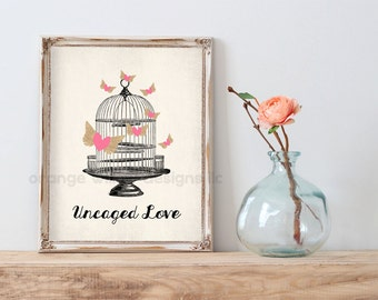 Uncaged Love Vintage Style Art Print (5AOWDe42) 11x14 Art Print Typography Art Print Old Bird Cage Hearts soaring Vintage Old style
