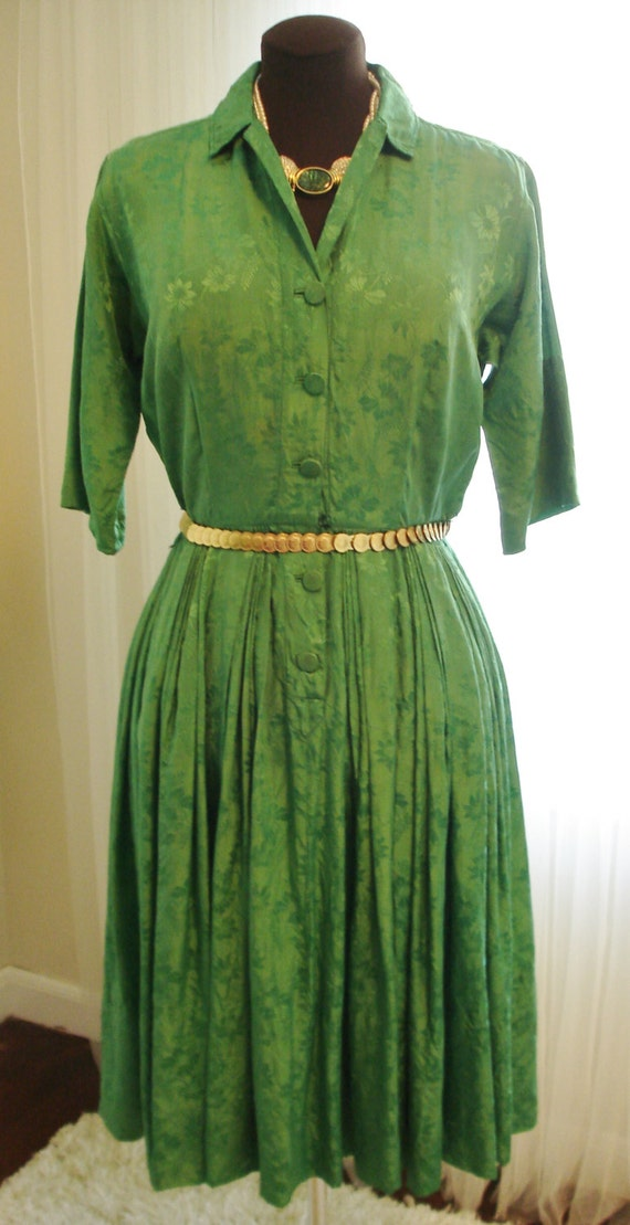 """Emerald Green Silk Pleated Skirt  Shirt Dress 39""""… - image 2"""
