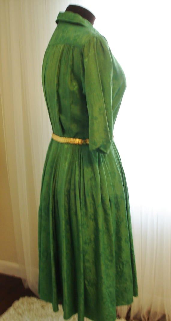 """Emerald Green Silk Pleated Skirt  Shirt Dress 39""""… - image 3"""