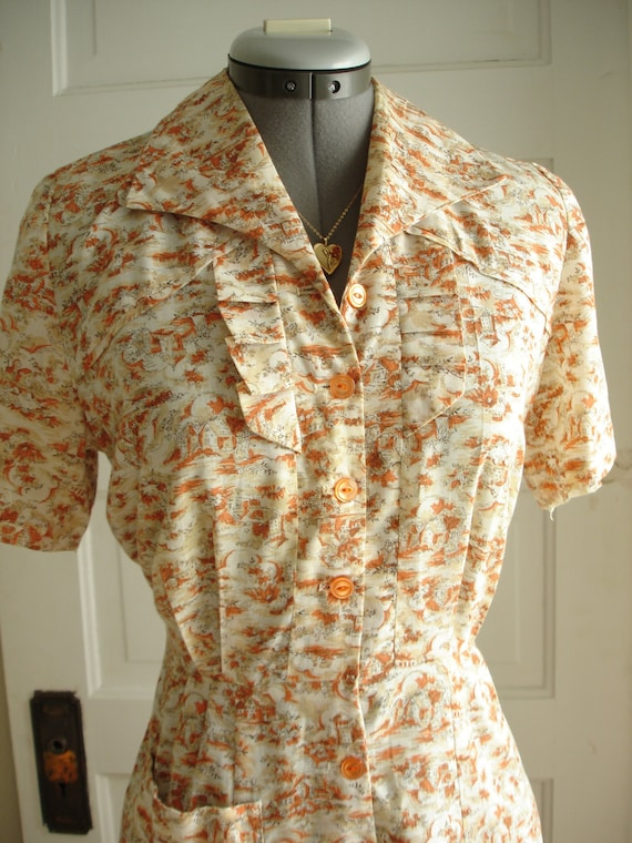 "1950 Day Dress of Super Soft Cotton Toile 36"" Bust"