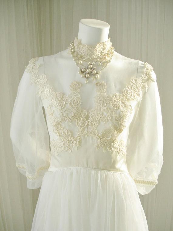 Vintage ILGWU 1960/1970 Illusion Bodice Bridal Wedding Dress | Etsy
