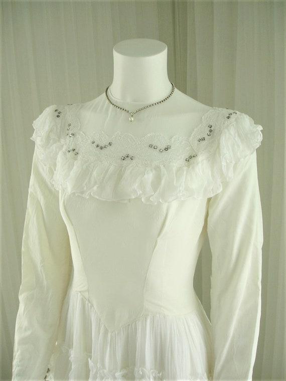 1940 Ruffles and Rhinestones Wedding Dress