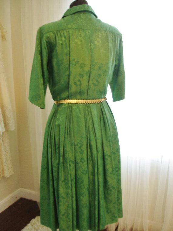 """Emerald Green Silk Pleated Skirt  Shirt Dress 39""""… - image 4"""