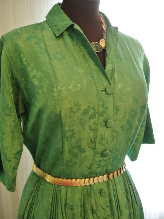 """Emerald Green Silk Pleated Skirt  Shirt Dress 39"""""""