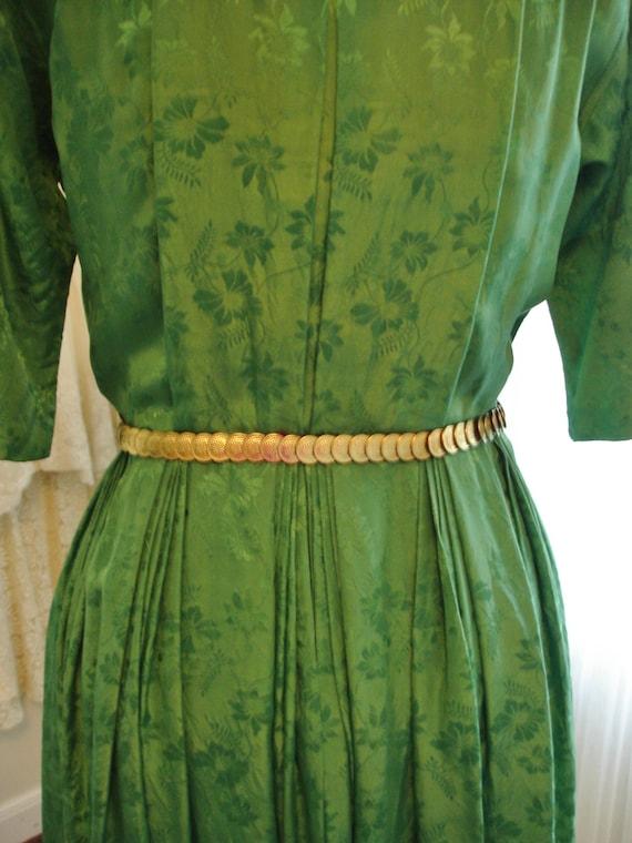 """Emerald Green Silk Pleated Skirt  Shirt Dress 39""""… - image 5"""