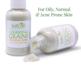 Cleansing Grains & Facial Mask - Organic Oily, Acne Skin Care - Natural Face Cleanser Powder - Gluten Free Cleanser - Clay Face Mask - 2 oz