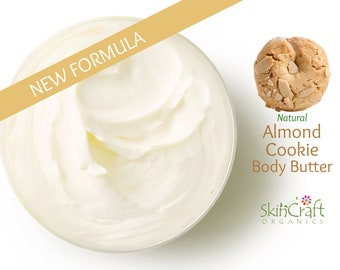 Natural Almond Cookie Body Butter - Non Greasy Moisturizer for Dry Skin -  Honey Almond Biscotti Scent - Bakery Scented Cream Lotion