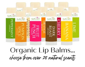 Natural Lip Balms for Men & Women - 28 Natural Scents - Cruelty Free Lip Balms w/ Organic Coconut Oil, Raw Local Beeswax, Essential Oils