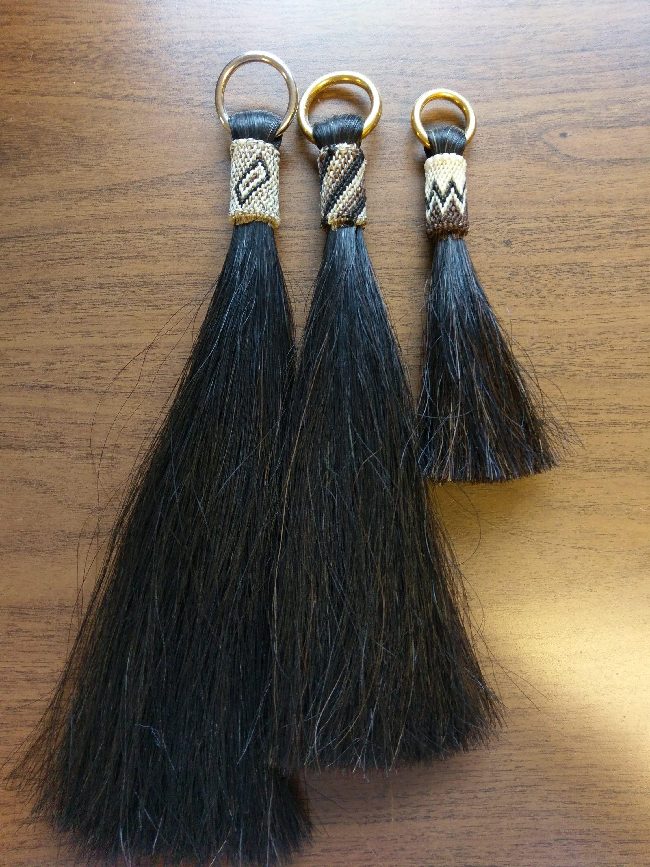 """Black Horsehair, Shu-Fly, Shoo-Fly, Horsehair Tassel. 12"""",10"""",6"""" lengths on Brass or Stainless Rings"""