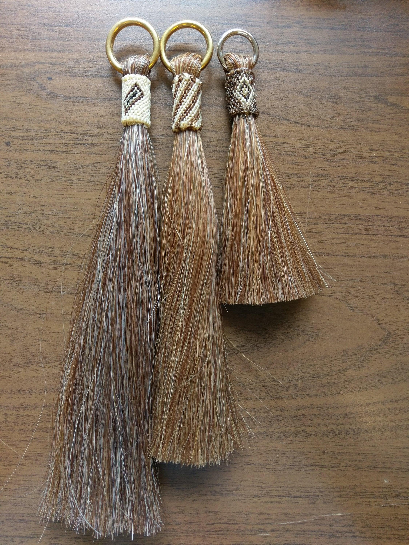 """Medium Sorrel Shu-Fly, Shoo-Fly, Horsehair Tassel. 12"""", 10"""", 6"""" lengths with Brass or Stainless ring"""
