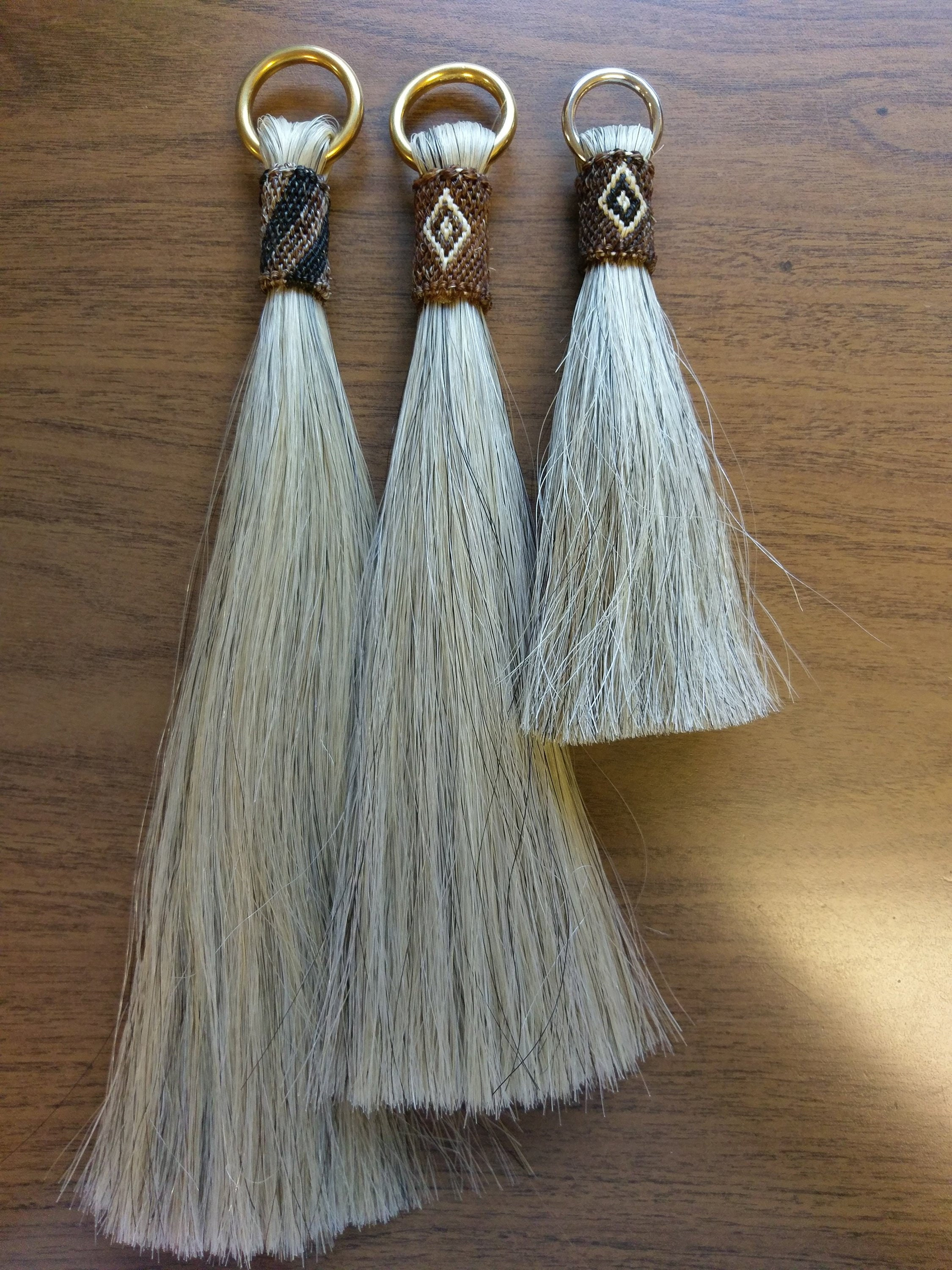 """Light Mix Shu-Fly, Shoo-fly, Horsehair tassel. 12"""",10"""" or 6"""" lengths with Brass or Stainless rings"""