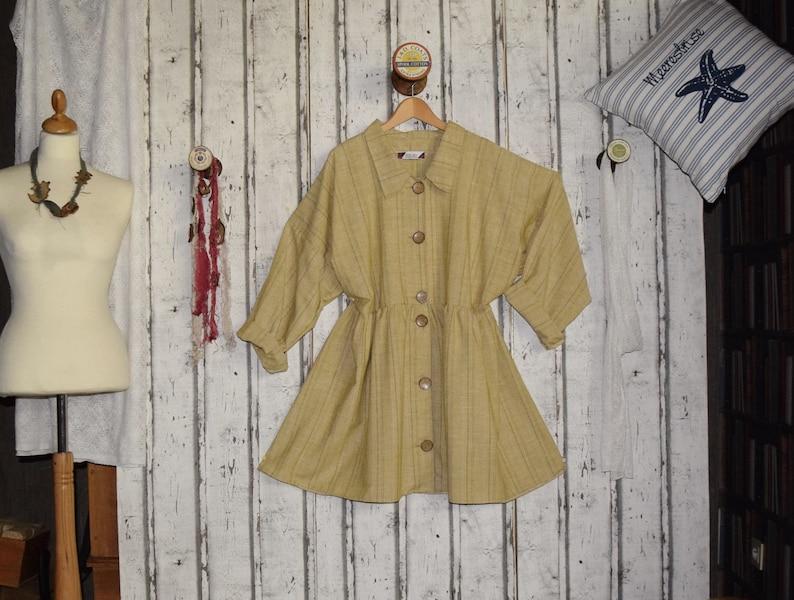 UK 20-26 SALE!! Linen dressblouse,European Layering Look ONe of a kind!!!Plus sizes- US 18-24
