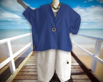 Plus sizes - US 18 - 34, UK 20 - 36 Layered-look stylish jacket, linen,blue