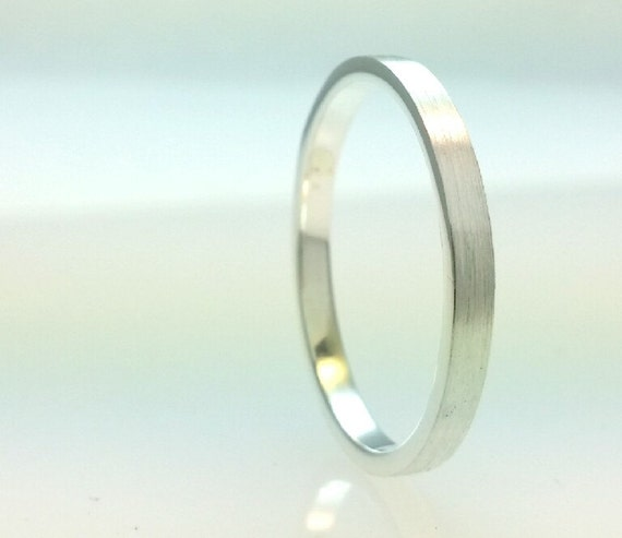 Sterling Silver 7mm Tube Wedding Band Ring 925,2mm Thickness,Brushed Outside Full Polish Inside,Flat 7mm Wedding Ring,All Sizes One Price