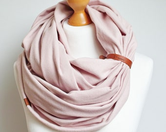 SOFT infinity scarf with leather strap, personalised cotton infinity scarf for winter, infinity scarves, Christmas gif ideas