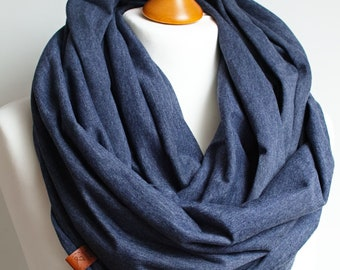 Cotton infinity scarf spring shawl for women, women cotton scarf, basic women scarf cotton, simple scarf, BLUE cotton infinity scarf