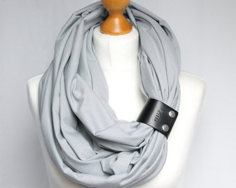 Tube scarf with leather cuff, spring  cotton infinty scarf for women, gift for her