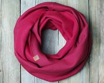 Infinity tube scarf for women, chunky jersey scarf cotton sweatshirt jersey scarf in burgundy colour, hooded scarf, Christmas gift idea