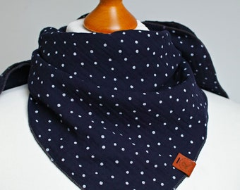 Soft bandana scarf,  cotton bandana for women, triangle scarf bandana for women, girls, navy blue cotton scarf, neck gaiter