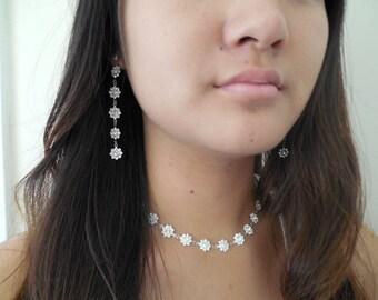 Swarovski Crystal Flowers Necklace, Bridal Necklace, Bridesmaids Necklace, Vintage Style Bridal Necklace, Wedding Jewelry