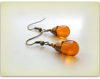 fe23b06763837 Teardrop Smokey Topaz Brown Czech Crystal Earrings Wire Wrap | Etsy